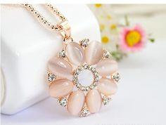 Flower Pink Rhinestones Necklace