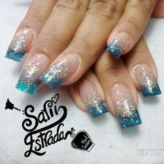 Love Nails, Pretty Nails, Beauty Make Up, Hair Beauty, Glitter Azul, Uñas Fashion, Gold Eyes, Nail Arts, Acrylic Nails