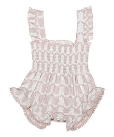 Look what I found on #zulily! Pink Bunny Ruffle Shirred Romper - Infant by Nanny Pickle #zulilyfinds