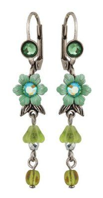 Amazon.com: Michal Negrin Earrings with Hand-Painted Flowers, Leaves, Beads and Green Swarovski Crystals - Hypoallergenic, Victorian Style: Michal Negrin: Jewelry