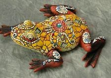 Gold multi colored mosaic tile frog