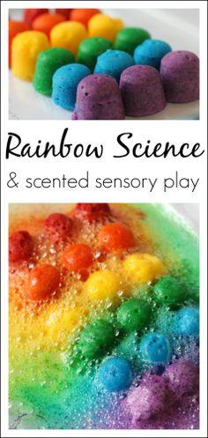 Rainbow Science Experiment for kids with scented rainbow bombs - great for preschool, kindergarten, 1st grade