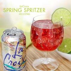 Cranberry juice, Coconut LaCroix Sparkling Water and fresh-squeezed lime juice makes a refreshing mocktail - try this drink recipe