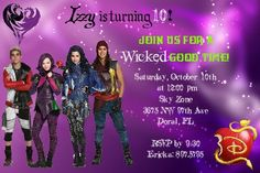 Personalized Girls Disney Descendants Inspired by ChiniInvites