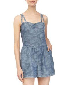 Dex Tropical-Print Denim Short Jumpsuit, Washed Out, Women's, Size: L