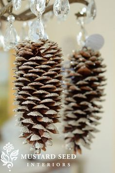 Glittery pine Cones-DIY Christmas Ornaments Ideas