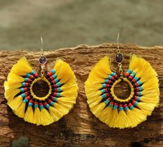 Lemon yellow cotton tassel earrings in circle by cafeandshiraz