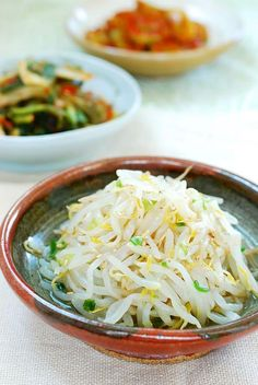 Namul (Mung Bean Sprouts) A simple Korean side dish made with bean sprouts! Great in bibimbap too!A simple Korean side dish made with bean sprouts! Great in bibimbap too! Korean Side Dishes, Side Dish Recipes, Asian Recipes, Healthy Recipes, Edamame, Japanese Diet, Japanese Side Dish, Barbecue Side Dishes, Fresh Eats
