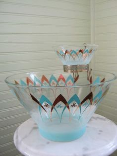 Etsy: 1950s Turquoise and Gold BLENDO Chip and Dip Set -- West Virginia Specialty Glass Company Serving Bowl Set -- Mid-Century Dinnerware