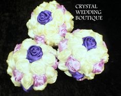 SATIN ROLLED ROSE BOUQUETS IN IVORY/LILAC/PURPLE