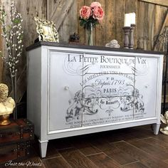 French Image Transfer Buffet Makeover by Just the Woods DIY Furniture Makeover Staging Furniture, Shabby Chic Furniture, Rustic Furniture, Furniture Makeover, Vintage Furniture, Furniture Update, Recycled Furniture, Furniture Dolly, Outdoor Furniture