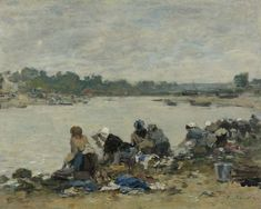 Laundresses at the Bank of the Touques 1885 90 | Eugene Boudin | oil painting
