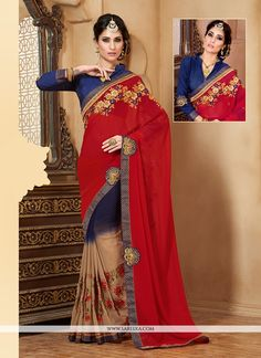 Vogue and pattern would be on the peak of your elegance after you dresses this blue and red georgette designer saree. The ethnic embroidered and patch border work on the attire adds a sign of elegance...