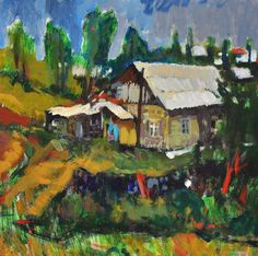Original oil Painting  Landscape    HOUSE iN by ARTGALERYPAINTING, $200.00