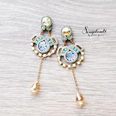 Subtle soutache earrings. Soutache jewelry. Soutache by Sengabeads