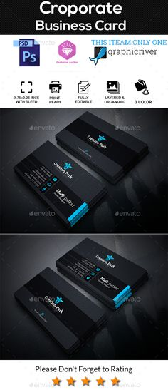 #Croporate #Business #Card - Corporate Business Cards Download here: https://graphicriver.net/item/croporate-business-card/20471883?ref=alena994