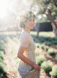 Dreamy Vintage Bride with a Flower Crown and Beaded Wedding Dress | Jen Huang Photography | http://heyweddinglady.com/pastel-summer-citrus-wedding-inspiration/