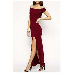 52a34bef0fc5 Off The Shoulder Plain Split Front Cut Out Back Sexy Maxi Dress ( 29) ❤