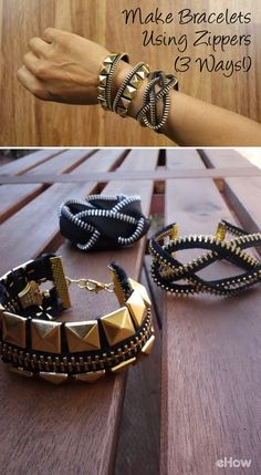 These zipper bracelets are adorable and so easy to make! DIY here: http://www.ehow.com/how_12343732_make-bracelets-using-zippers-tutorial-3-ways.html?utm_source=pinterest.com&utm_medium=referral&utm_content=freestyle&utm_campaign=fanpage