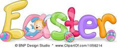 Royalty-Free Vector Clip Art Illustration of a Baby Playing On The Word EASTER by BNP Design Studio