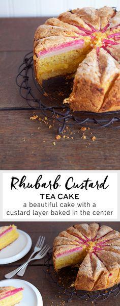 Rhubarb Custard Tea Cake – Eat, Little Bird Rhubarb And Custard, Rhubarb Cake, Custard Cake, Custard Slice, Cupcakes, Cupcake Cakes, Baking Recipes, Cake Recipes, Dessert Recipes