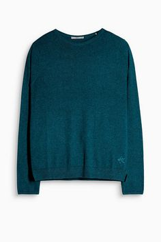 Cotton blend jumper with ribbed cuffs and a round neckline, Esprit £25