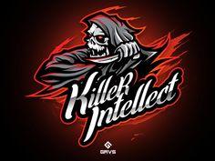 Killer Intellect designed by Febryan Satria. Connect with them on Dribbble; Logo Desing, Game Logo Design, Vector Design, Gaming Logo, Sports Decals, Youtube Logo, Esports Logo, Arte Obscura, Skull Logo