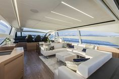 Main Deck #Design - Pershing #Yacht 82 on display at the #MiamiBoatShow 2015, 12-16 Feb 2015. #luxury #yacht #MadeInItaly