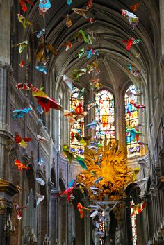 Origami installation by Henri Hua at Church of Saint-Merri, Paris, France