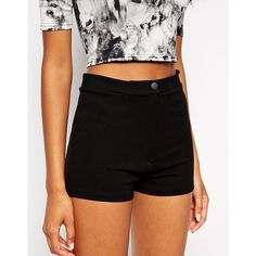 ASOS High Waisted Stretch Shorts (£21) ❤ liked on Polyvore featuring shorts, bottoms, asos shorts, stretch shorts, tall shorts, high waisted stretch shorts and high-waisted shorts
