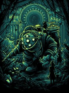 Would You Kindly - Created by Dan MumfordLimited edition prints If you like Bioshock as we do, you have to get this poster! Bioshock Rapture, Bioshock Infinite, Dark Fantasy, Fantasy Art, Final Fantasy, Bioshock Artwork, Bioshock Tattoo, Dan Mumford, Bioshock Game