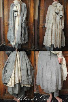 MLLE HONORINE : Veste, jupe et sarouel en lin gris, robe liberty EWA I WALLA - Atelier des Ours.