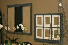 Chartreuse Home Furnishings Vintage Windows, Old Windows, Windows And Doors, Sidelight Windows, Framed Burlap, Vintage Home Decor, Home Furnishings, Picture Frames, Repurposed