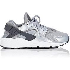 Nike Women's Air Huarache Run Sneakers ($110) ❤ liked on Polyvore featuring shoes, grey, low profile shoes, rubber sole shoes, nike shoes, lace up shoes and low top