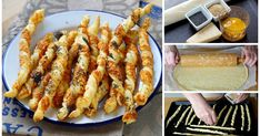 Recipe – Torsades aperitif with parmesan in step by step by Dornbuschhexe Puff Pastry Appetizers, Make Ahead Appetizers, Best Appetizer Recipes, Cheese Straws, Football Food, Finger Foods, Food Videos, Macaroni And Cheese, Brunch