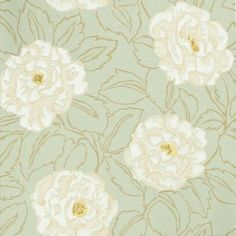 Rosella (30210) - Harlequin Wallpapers - Floral design with painterly flowers with hand painted raised effect, set in subtle leaf background on a linen look base with lustre inks. Available in 5 colours - shown in the cream on mint green. Please ask for sample for true colour match.