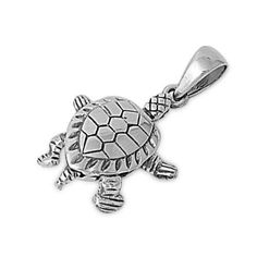 "Sterling Silver Red Eared Slider Turtle Pendant 19MM (Free 18"" Chain)"