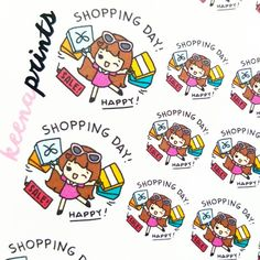 A010 | SHOPPING DAY Keenachi emotion stickers, shopping stickers, grocery stickers, girl stickers, eclp stickers, bullet journal stickers