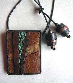 Streams - Polymer clay, acrylic glazes, mica, turquoise inlay, camphor wood, buna cord.