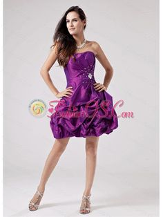 Luxurious Eggplant Purple 2013 Prom Cocktail Dress With Beaded Decorate and Ruch Strapless Taffeta- $108.16