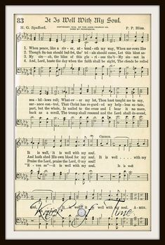 Digital Download Printable Hymn Page IT IS WELL by KnickofTime Bible Emergency Numbers, Christmas Sheet Music, Music Page, Sheet Music Notes, Guitar Songs, Gospel Music, Soul Music, Christian Music, Piano Music