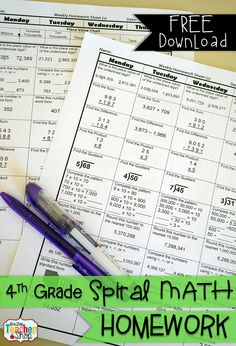 FREE Spiral Math Homework for 4th Grade! {Common Core} 2 Weeks FREE!!!