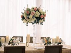Love the candles and floral display. Wish I could afford to the tablecloth from la tavola :) Floral Design: Amaryllis - http://www.stylemepretty.com/portfolio/amaryllis-event-design Photography: Abby Jiu Photography - http://www.stylemepretty.com/portfolio/abby-jiu-photography Read More on SMP: http://www.stylemepretty.com/2015/08/10/classic-romantic-washington-d-c-spring-wedding/