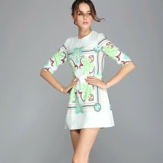 2014 Spring New Fashion Brand Summer Dress Women Half Sleeve Vintage Printed Dress High Street Mini Girls' Casual Prom Dresses $73.99 - 77.99