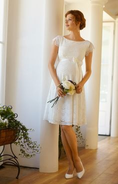 Our sensuously soft lace maternity wedding dress Harriet is vibrant and…