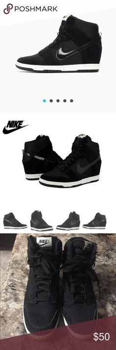 Nike Dunk These Nike Women's Dunk Sky High Wedges are super cool. They come in black nubuck, Suede outside & Patent Leather Nike Signs. Used, without tags or box. Nike Shoes Sneakers