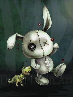 Stitches voodoo bunny art print