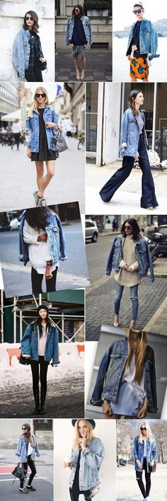 Tendência: Oversized Jeans Jacket (Anna Fasano) One of the wonders of fashion is to not only wear ti Best Street Style, Street Style Outfits, Casual Outfits, Casual Shirts, Jean Jacket Outfits, Denim Outfit, Oversized Denim Jacket Outfit, Jacket Jeans, Oversized Fashion