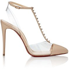Christian Louboutin Women's Nosy Spikes Leather & PVC Pumps (€690) ❤ liked on Polyvore featuring shoes, pumps, pointed-toe pumps, beige slingback pumps, christian louboutin shoes, clear pumps and pointy-toe pumps