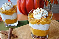 Fat-Free Pumpkin Mousse Shooters. Only 138 calories for the entire glass!